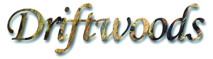 Driftwoods Schriftzug Design Holz mit Schatten