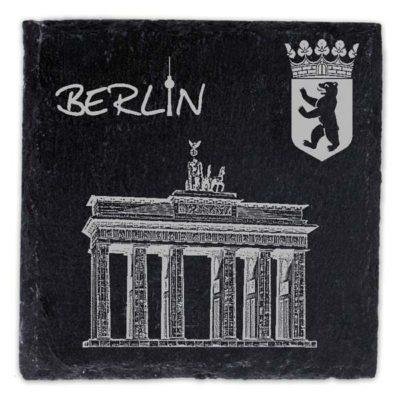 Schieferplatte Untersetzer mit Gravur Berlin