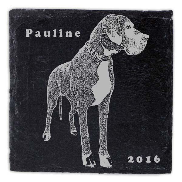 Schieferplatte Untersetzer mit Gravur Hund Doge