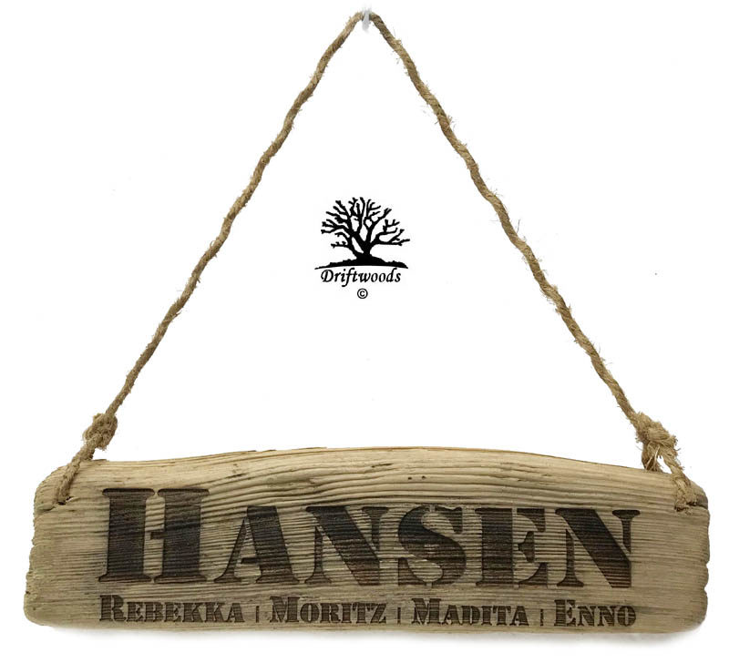 Treibholz Schild Brett mit Gravur und Aufhänger
