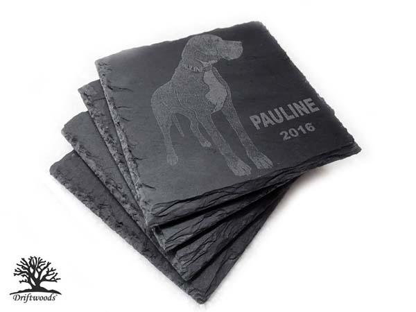 Schieferplatte Untersetzer mit Gravur Hund